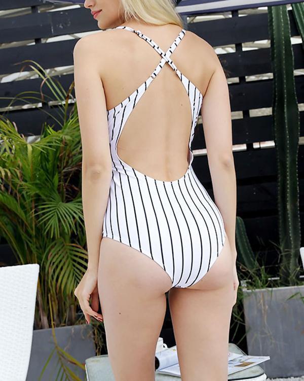 Vertical Stripe Print Sexy One-piece Swimsuit