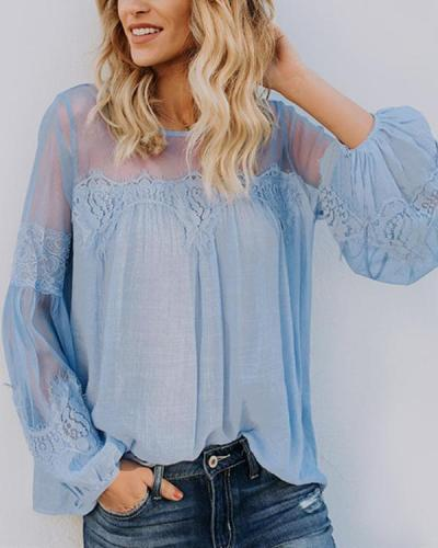 Women Casual Lace Embroidery Long Sleeve Solid Plus Size Blouses Tops