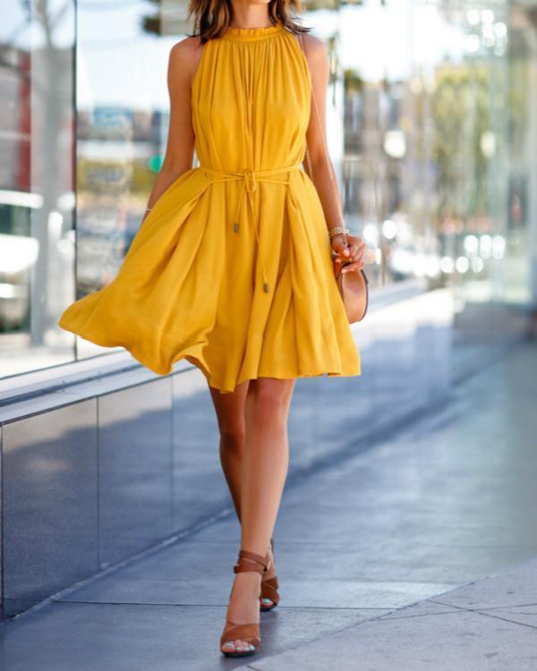 Women's Elegant Solid Sunshine Summer Mini Dress