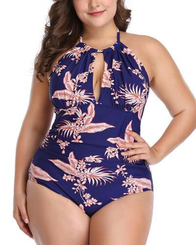 Halter Neck Print Oversize Swimsuit