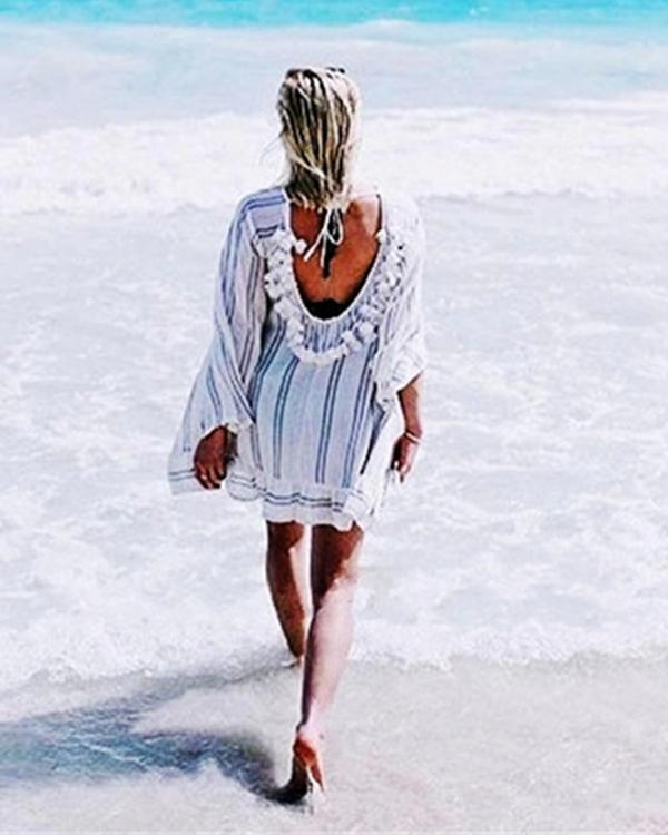 Casual Striped Long Sleeve Backless Vacation Mini Dresses