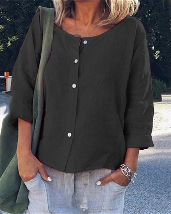 Long Sleeve Crew Neck Summer Solid Women Holiday Blouse