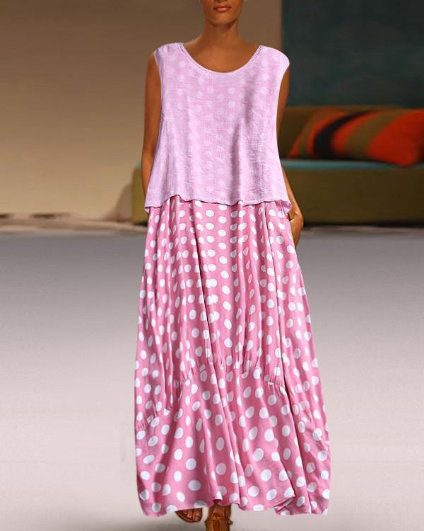 Women Fashion Polka Dot Round Neck Sleeveless Dresses