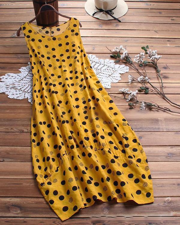 Round Neck Women Summer Dresses Printed Polka Dots Midi Dresses