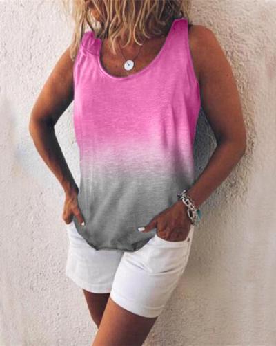 Women Casual Gradient Print Color Sleeveless Vests Tops