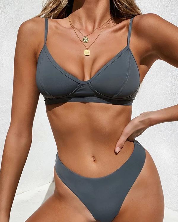 Women Solid Color Push Up Bikini Set