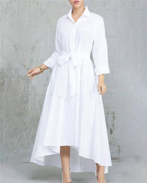 Solid Color Pleated Asymmetrical Tie Waist Maxi Dresses