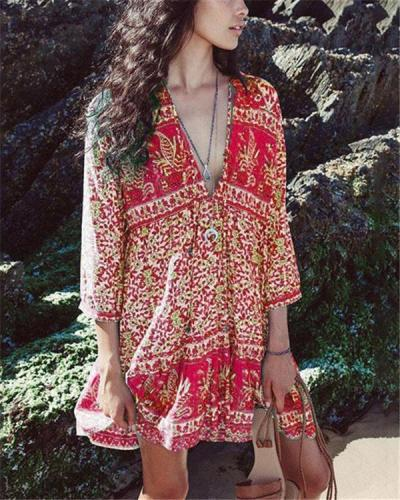 V Neck Women Dresses Shift Daily Bohemian Dresses