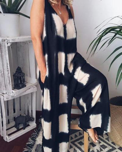 Women's Loose Color Block Jumpsuits