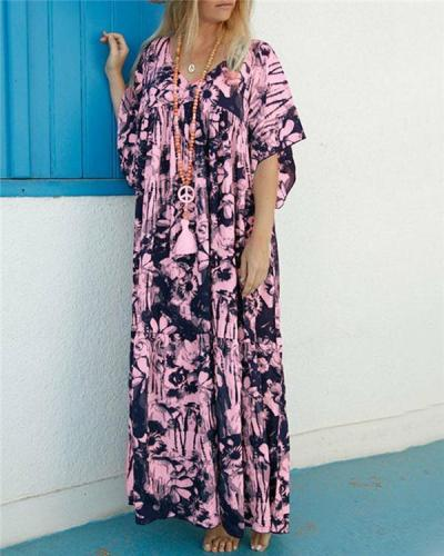 Women Summer Bohemian Short Sleeve Maxi Dress