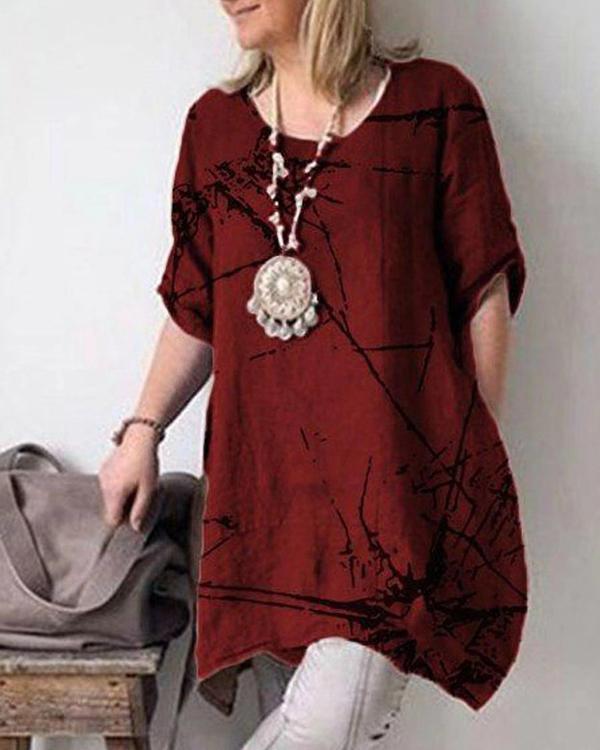 Summer Casual Crew Neck Short Sleeve Cotton Plus Size Dresses