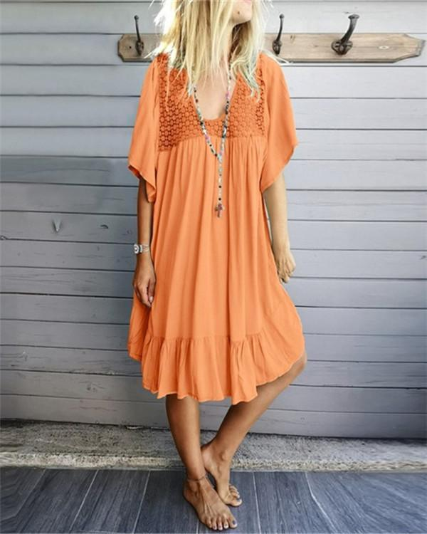 Women Solid Skirt Hem Pleted Midi Dress
