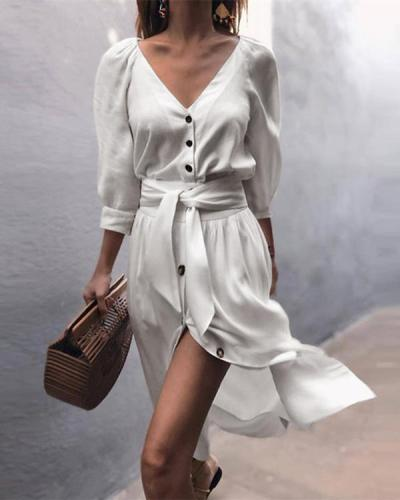 Women Casual Solid V-Neck Strap Half Sleeve Dress