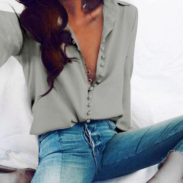 Woman Long Sleeve Blouses Lapel Shirt