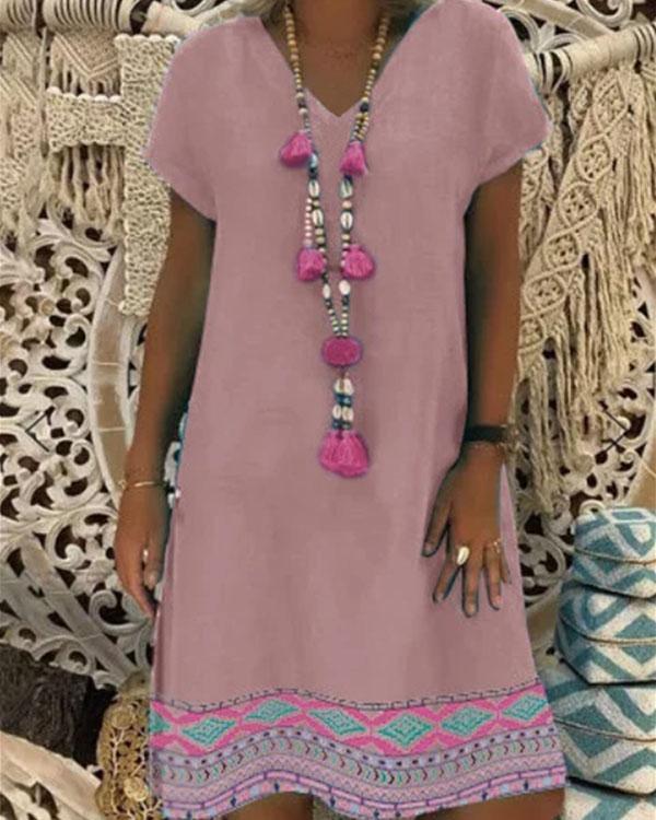 Women V-Neck Vintage Pattern Print Short Sleeve Dress