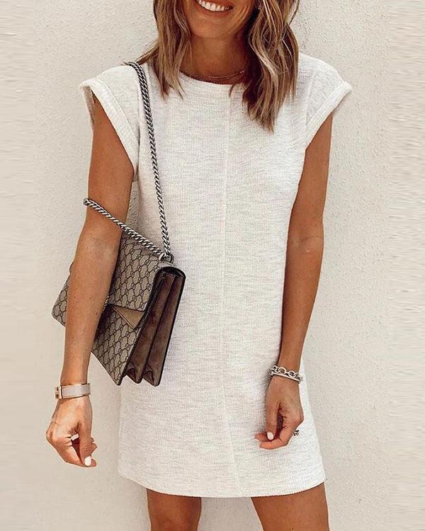 O Neck Solid Color Mini Dress