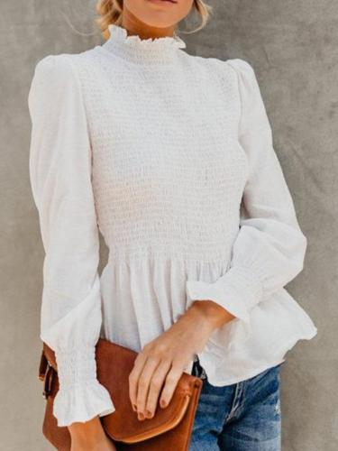 Chiffon Long Sleeve Sweet Turtle Neck Solid Shirred Blouses