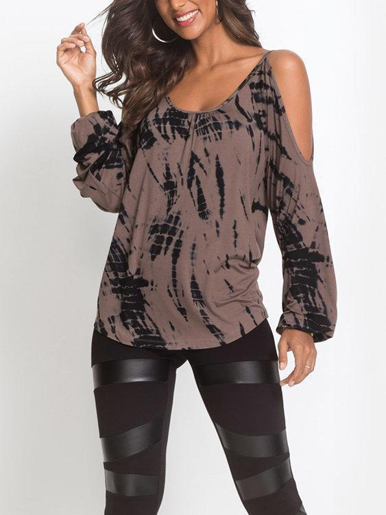 Contrast Printed Cold Shoulder Long Sleeves Curved Hem Casual Tshirts