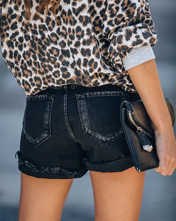 High Waist Vntage Slub Ripped Curled Denim Shorts Pants