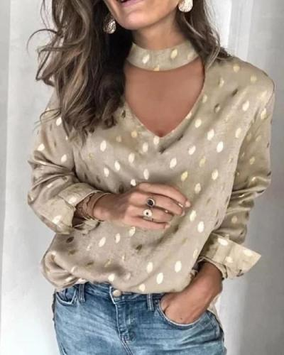 Women Long Sleeve Polka Dots Vintage Shirts & Tops