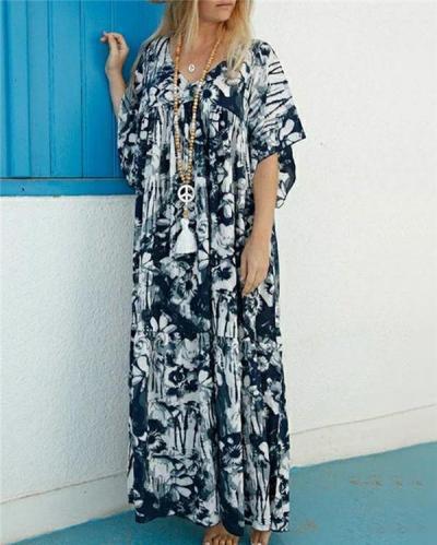 Women Summer Bohemian Short Sleeve Maxi Dress