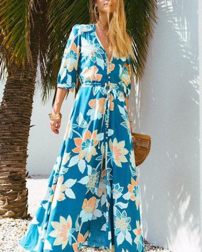 Half Sleeve V Neck Summer Holiday Print Maxi Dress