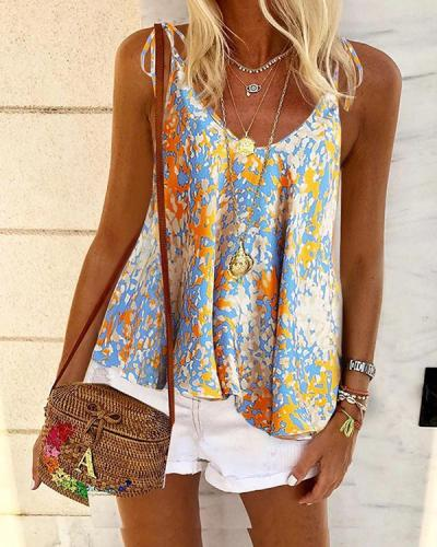 Printed Floral Casual V Neck Shirts Boho Tops