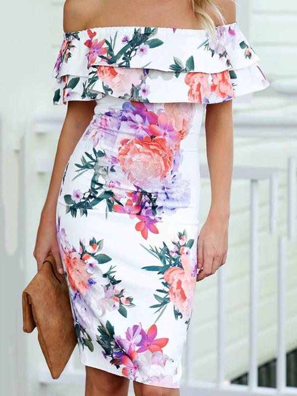 White Floral Print Off Shoulder Bodycon Mini Dress