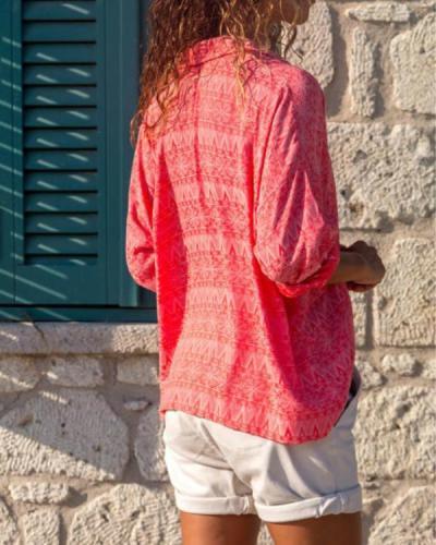 Red Shirt Collar Elegant Tribal Printed/Dyed  Blouse Tops