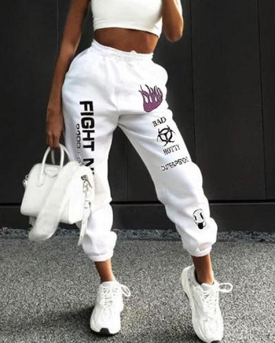 High Rise Lace Up Lettering Graffiti Print Sweatpants