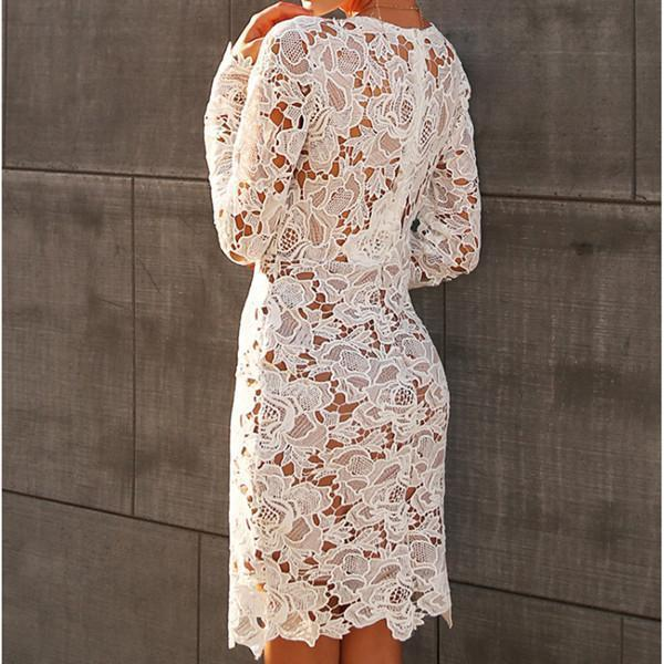 Sexy Lace Hollow V Neck Long Sleeve Bodycon Mini Dress