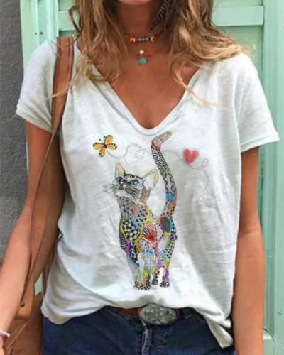 White Printed Short Sleeve Shift Shirts & Tops