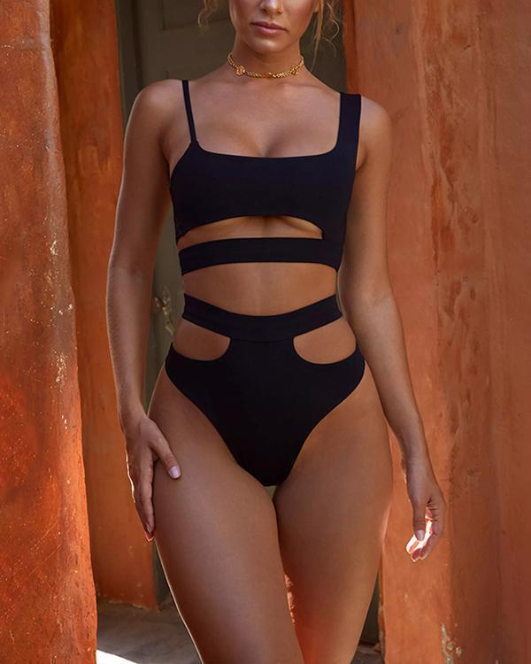 Openwork Split Sexy Backless Swimwear