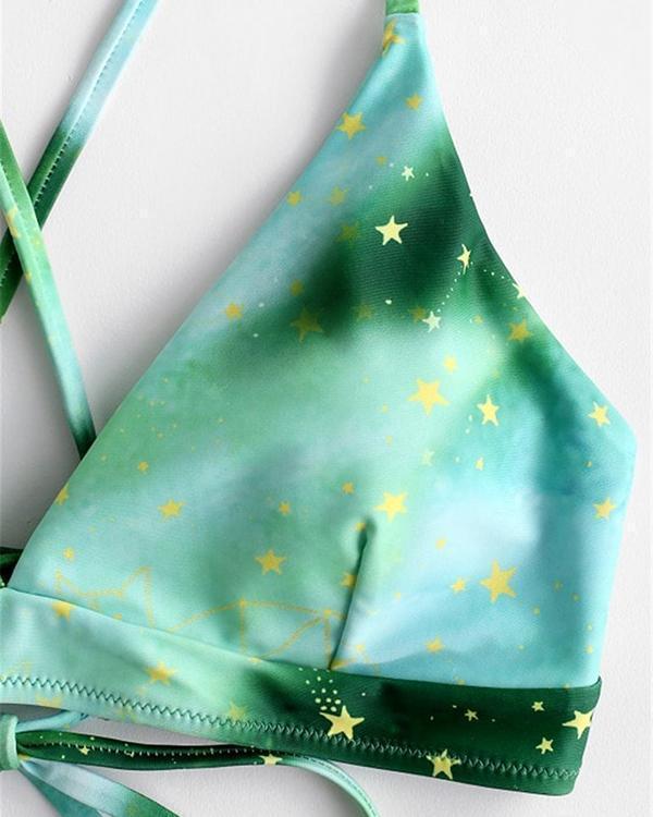 Suspenders Tie-dye Printed Bikini