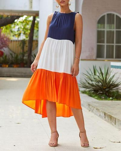 Color Block Irregular Sleeveless Midi Dress