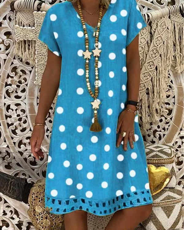 Women V-Neck Short Sleeve Hollow Polka Dot Summer Dress