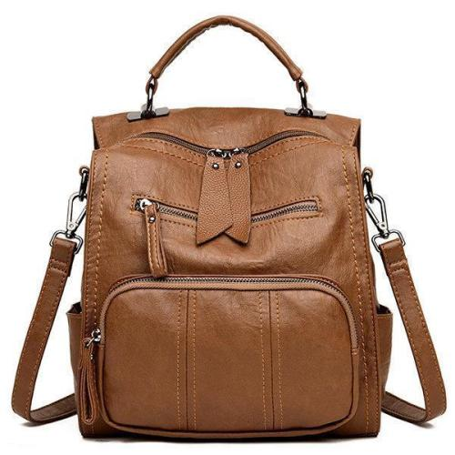Soft PU Leather Multi-function Handbag Large Capacity Backpack