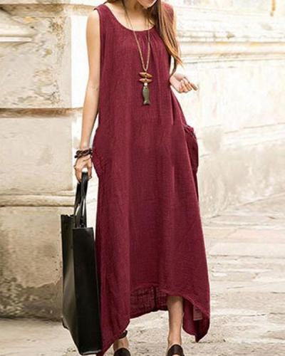 Women Plus Size Sleeveless Asymmetrical Hem Maxi Dress