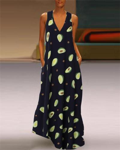 Sleeveless Cute Avocado Holiday Daily Fashion Maxi Dresses
