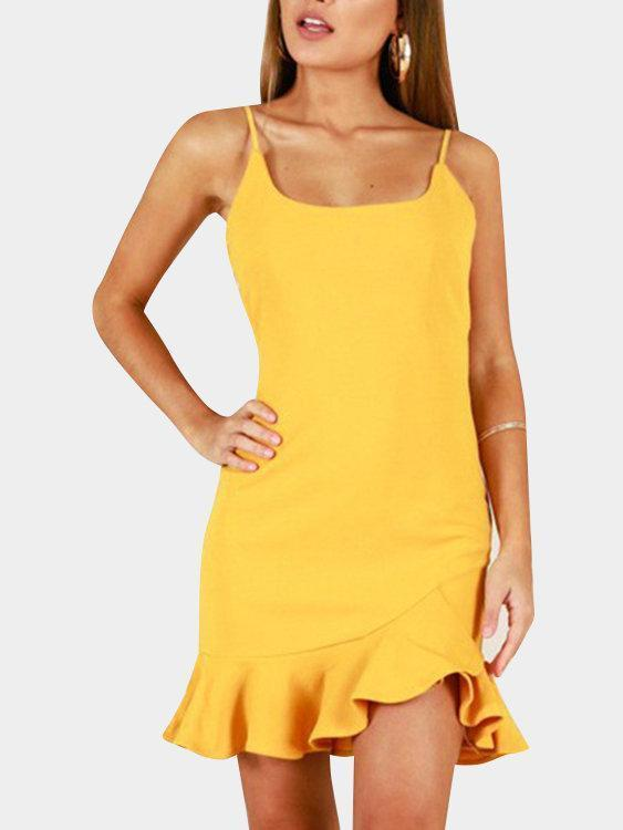 Spaghetti Backless Flounced Hem Mini Dresses