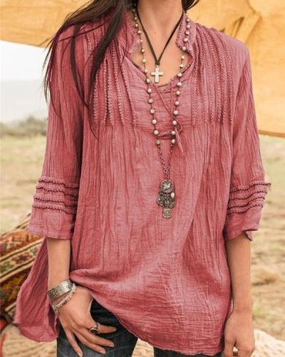 Solid Vacation Fashion Holiday Casual Lady Daily Shift Tops