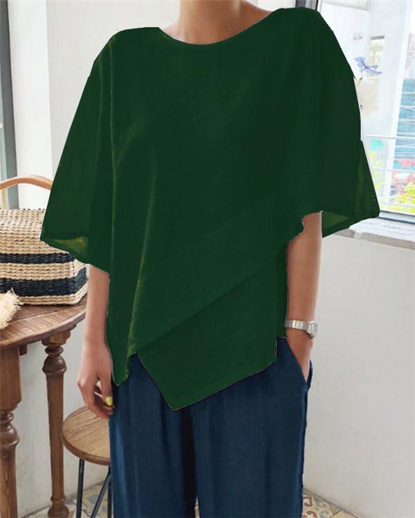 Women Asymmetric Linen Blouse Crew Neck Vintage Plain Linen Tops