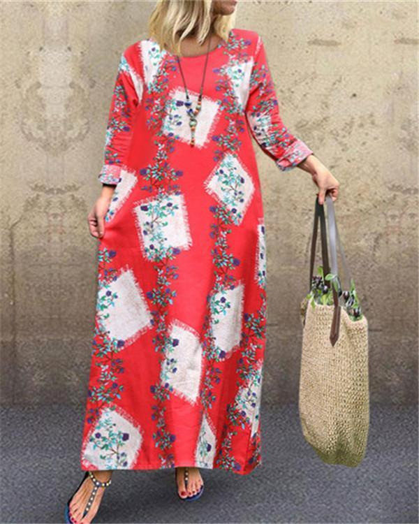 Boho Crew Neck Long Sleeve Maxi Dress