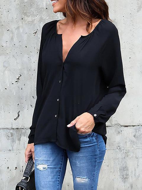 Women Shirts V neck Long Sleeve