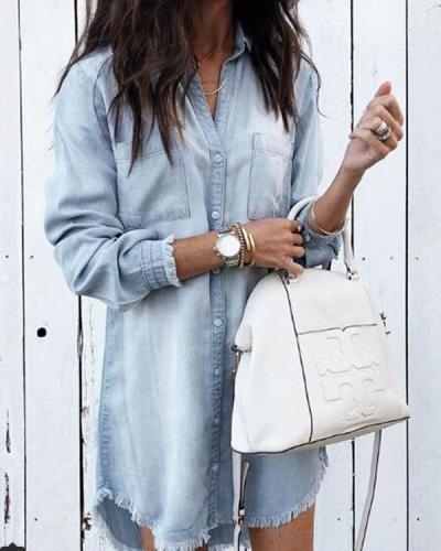 Women Casual Denim Shirt Dress Long Sleeve Loose Shirt Dress