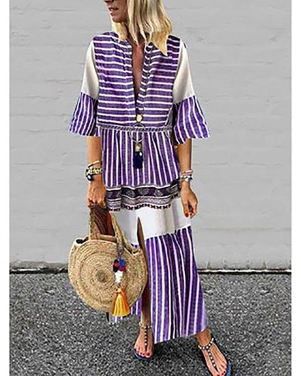 Women Printed V Neck Short Sleeve Vintage Dresses