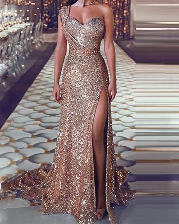 Split Floor-Lenght Maxi Dress Sleeveless One Shoulder Standard-Waist Elegant Party Dress