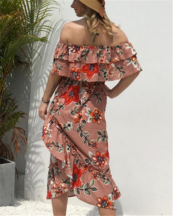 Chiffon Off Shoulder Floral Printed Midi Dress