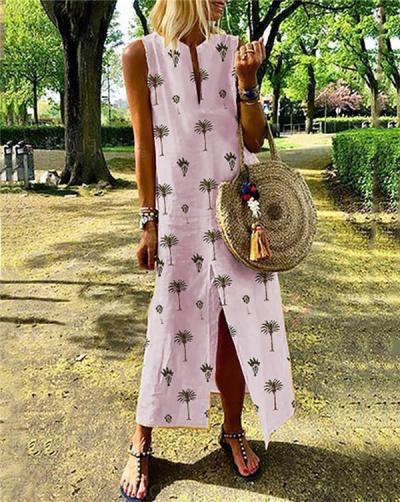 V Neck Long Sleeveless Maxi Dress