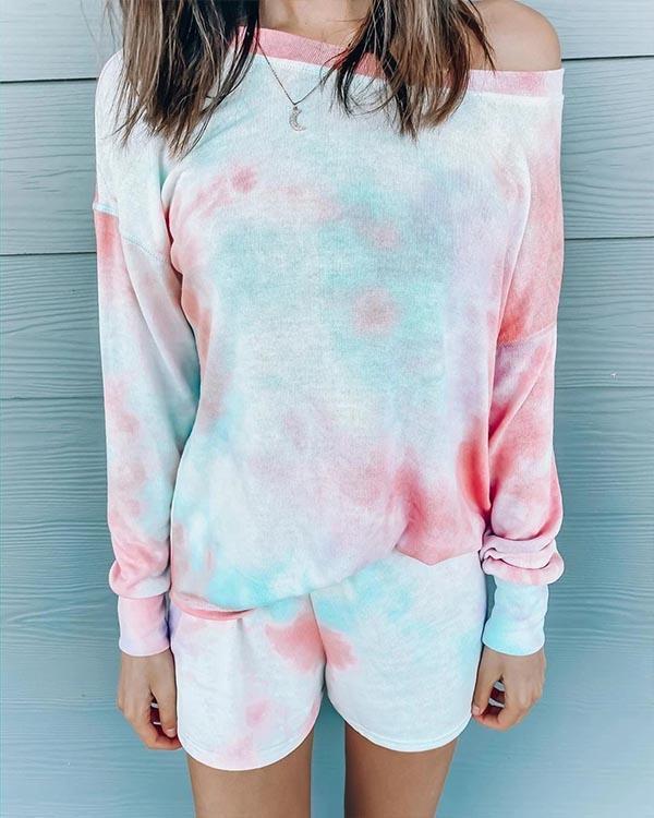 Colorful Tie Dye Oblique Shoulder Elastic Waistband Sweatsuit